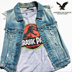 American Eagle Denim Vest Distressed Light Blue